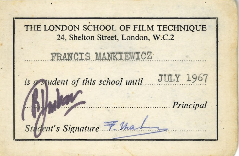Carte d'étudiant de Francis Mankiewicz, The London School of Film Technique, 1967. Coll. Cinémathèque québécoise, Fonds Francis Mankiewicz. 2013.0735.37.AR