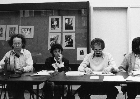 Pierre Véronneau, Louis Carrière, John Roston, François Dupuis : les participants à Le cinéma, la profession, les institutions