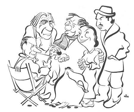 Paul Gury, Hector Charland,  Claude-Henry Grignon, Nicole Germain et Guy Provost : caricature de Lapalme parue dans La Patrie du 6-2-49
