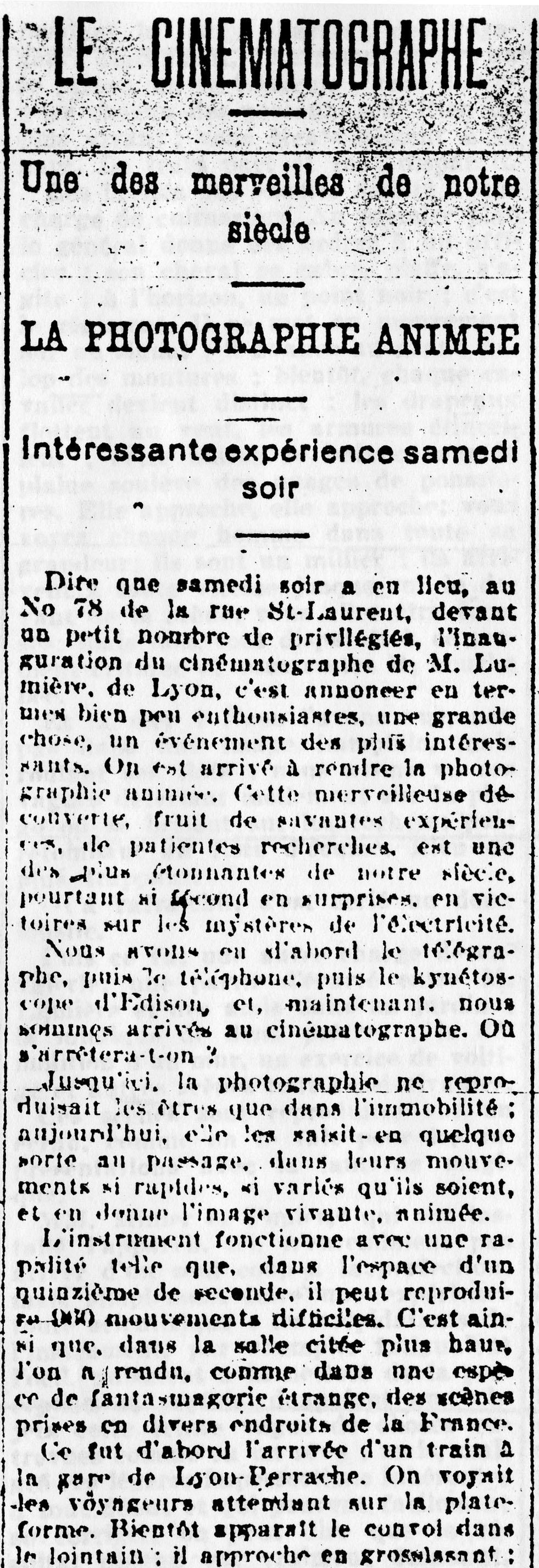 La Presse, le lundi 29 juin 1896