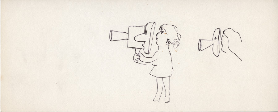 Image of an undated, untitled drawing by Joyce Wieland of a female figure holding a mask between her and a film camera (centre) and a female head looking into a mask (right).York University Library, Clara Thomas Archives & Special Collections, Joyce Wieland fonds, ASC33278