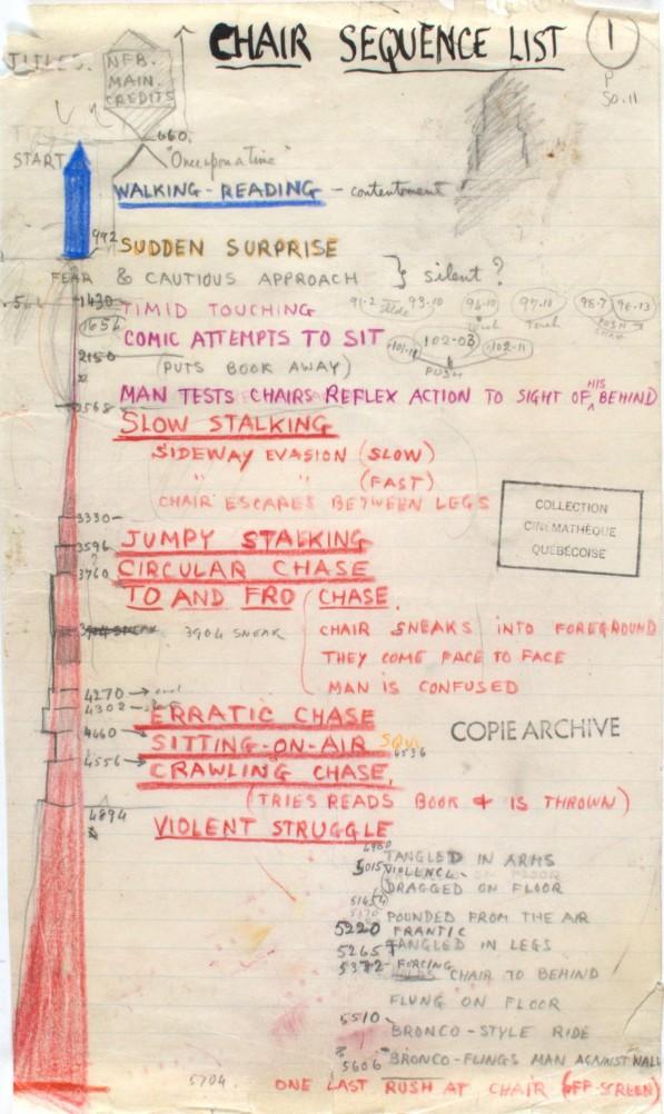 Norman McLaren et Claude Jutra, A Chairy Tale, 1957 Dimension de l'original: 30 cm × 18 cm Medium: mine de plomb, crayon de couleur et encre sur papier - Coll. Cinémathèque québécoise - 1984.0050.11.SC.02