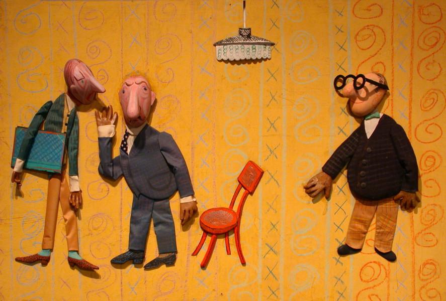 Bretislav Pojar, L'orateur (Úvodni slovo pronese), 1962 Dimension de l'original: 41,5 cm × 74 cm × 6 cm Matériaux: fibres, bois, métal et peinture - Coll. Cinémathèque québécoise - 1992.0031.OB.01