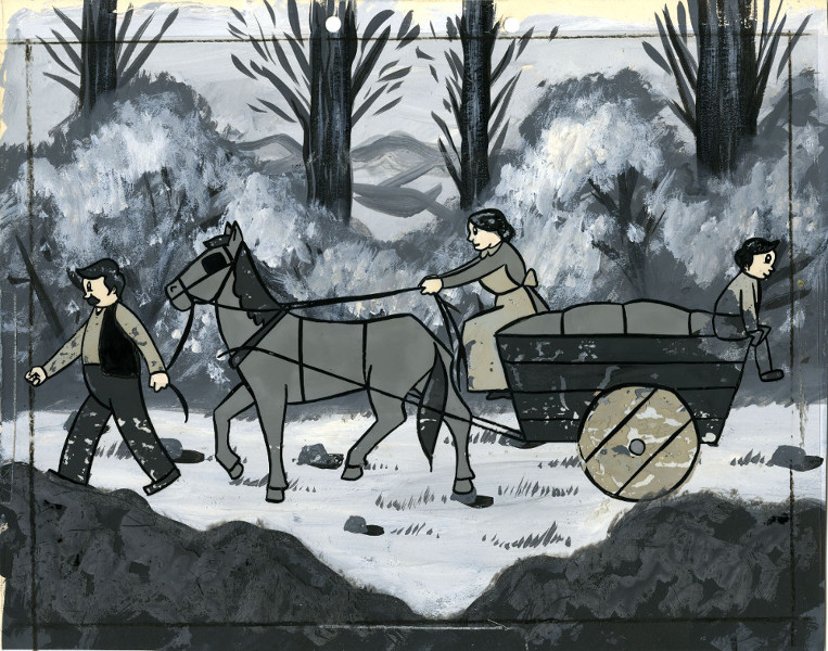 Réal et Marcel Racicot, Le village enchanté, 1955 Dimension de l'original: 25,5 cm × 32,5 cm Medium: gouache sur celluloïd et aquarelle sur carton - Coll. Cinémathèque québécoise - 1992.0184.AN.02
