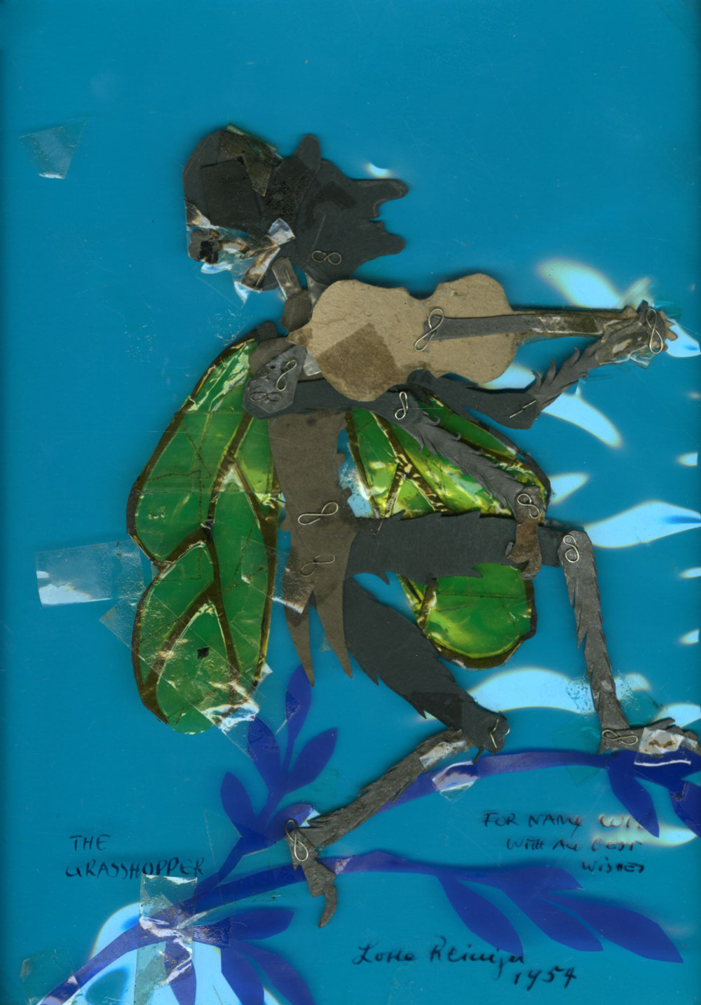 Lotte Reiniger, The Grasshopper and the Ant, 1954 Dimension de l'original: 23 cm × 16 cm Medium: papiers découpés et articulés, collage - Coll. Cinémathèque québécoise - 1993.0258.AR.01