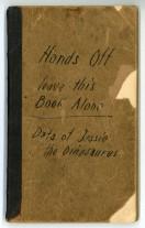 Winsor McCay, carnet de notes «Data of Jessie the Dinosaurus», 1914 Dimension de l'original: 20 cm × 12 cm Matériaux: papier, carton, mine de plomb et encre - Coll. Cinémathèque québécoise - 2001.0406.21.AR.01