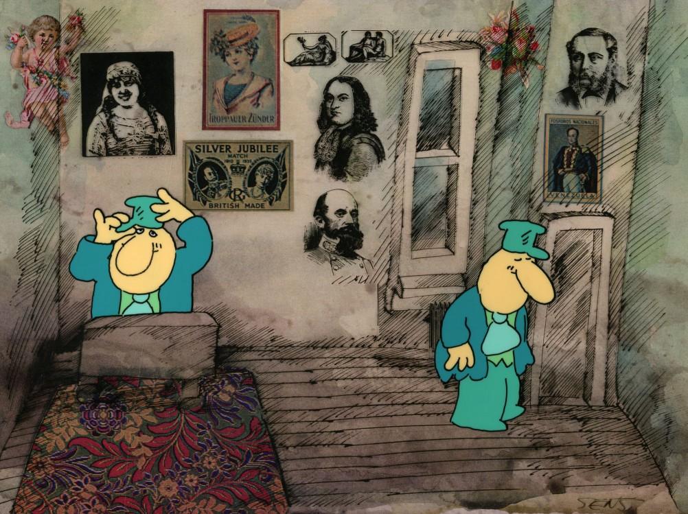 Al Sens, A Hard Day at the Office, 1977 Dimension de l'original: 33 cm × 40,5 cm Medium: gouache sur acétate, aquarelle et encre sur carton - Coll. Cinémathèque québécoise/Fonds Al-Sens - 2007.2953.AN.05