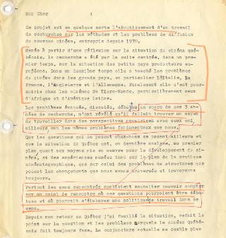Documents prépartoires : projet pour les Rencontres internationales pour un nouveau cinéma, André Pâquet, Montréal, le 13 juin 1973.