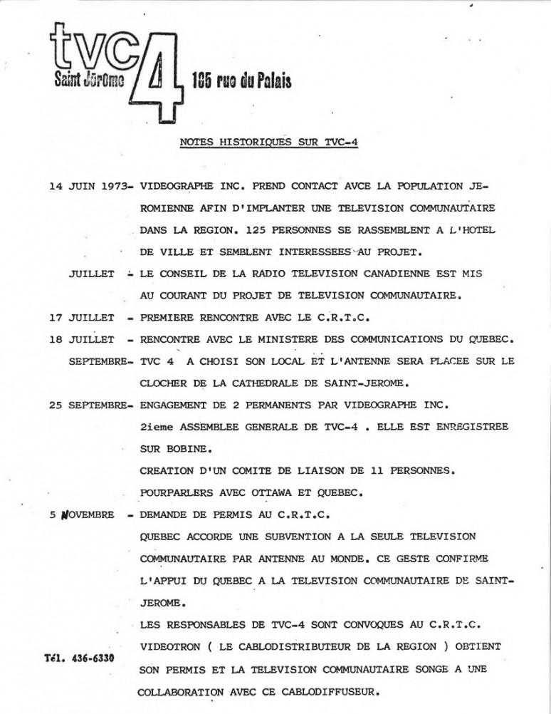 <em><strong>[Notes historiques sur TVC4] </strong></em>; 1973-1975 ; Collections Cinémathèque québécoise : fonds vidéographe ; 2016.0001.01.0034.FD