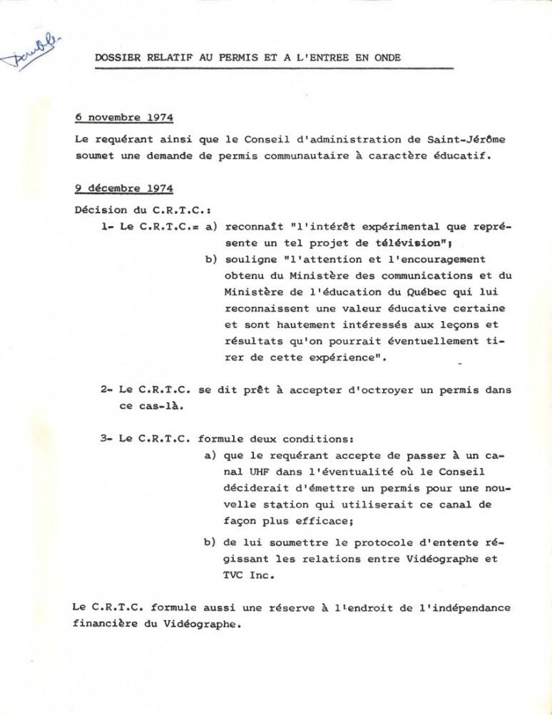 <em><strong>[TVC 4 : Dossier relatif au permis et à l'entrée en onde] </strong></em> ; 13 mars 1975 ; Collections Cinémathèque québécoise : fonds vidéographe ; 2016.0001.01.0035.FD